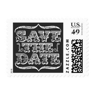 Vintage BLACK & White Save the Date Postage Stamp