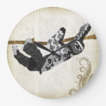 Vintage Black & White Sloth  Clock