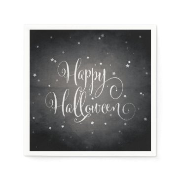Halloween Themed Vintage Black   White Stars Gothic Happy Halloween Paper Napkin