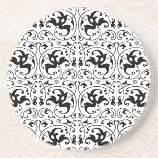 Vintage Black White Swirl Coaster