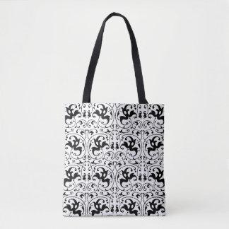 Vintage Black White Swirl Tote Bag