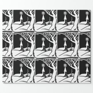 Vintage Black/White Winter Church Wrapping Paper