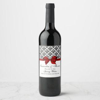 Vintage Black Wht Damask Red H Wine Bottle Label