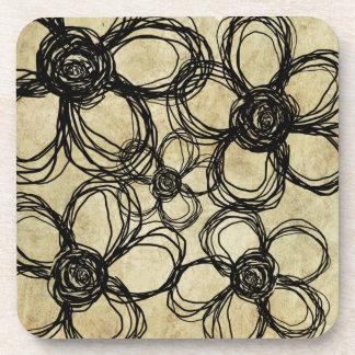 Vintage Black Wild Flowers Beverage Coaster