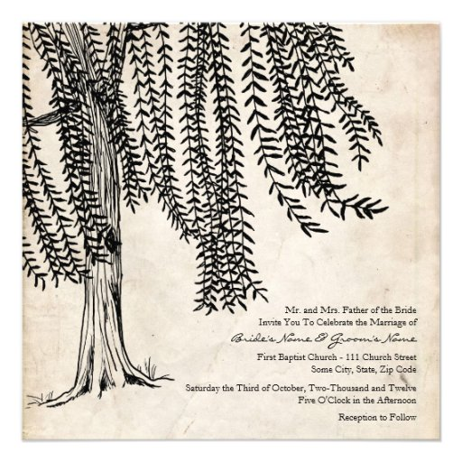 Vintage Black Willow Tree Wedding Invitation