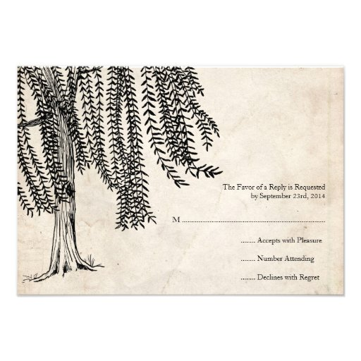 Vintage Black Willow Tree Wedding RSVP Custom Invitations