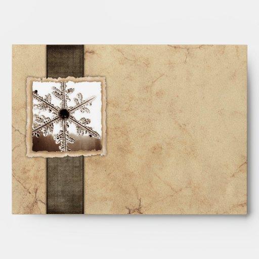 Vintage Black Winter Snowflake Envelope
