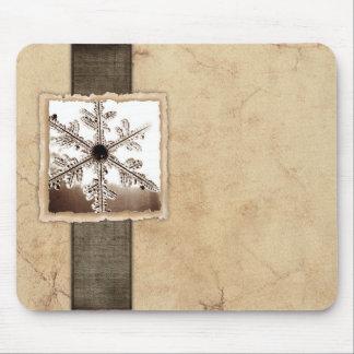 Vintage Black Winter Snowflake Mousepads