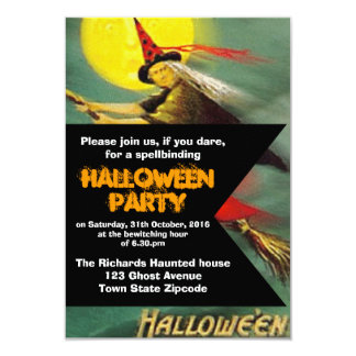 Vintage Black Witch Poster Halloween Invitation