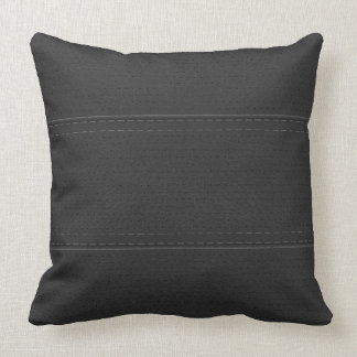 Vintage Black Worn-Out Faux Leather Look Throw Pillow