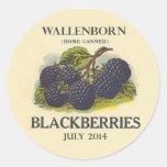 Vintage Blackberry Jam Label Classic Round Sticker