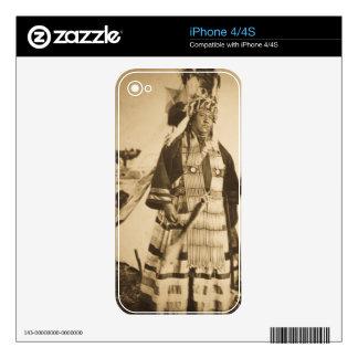 Vintage Blackfoot del jefe y del guerrero de Skin Para El iPhone 4S