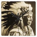 Vintage blanco del jefe indio de Siux del cisne Reloj De Pared