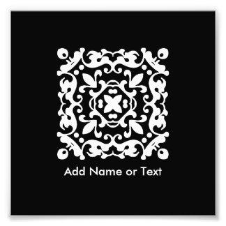 Vintage blanco y negro elegante decorativo cojinete