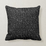 Vintage blanco y negro que escribe arte abstracto almohada