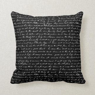 Vintage blanco y negro que escribe arte abstracto cojín decorativo