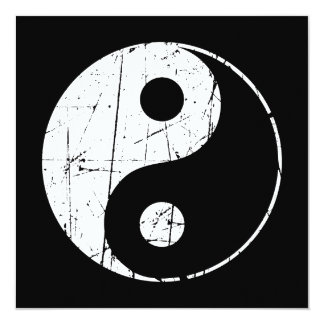 Vintage blanco y negro rasguñado Yin Yang Comunicados Personalizados