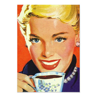 "Vintage Blank Coffe Tea Party Retro Gal Invitation 5"" X 7"" Invitation Card"