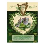 Vintage Blarney Castle Harp of Erin St Patrick's Postcard
