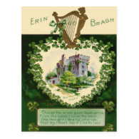 Vintage Blarney Castle Harp of Erin St Patrick's Post Cards