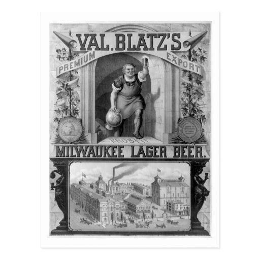 Vintage Blatz's Milwaukee Lager Beer Postcard