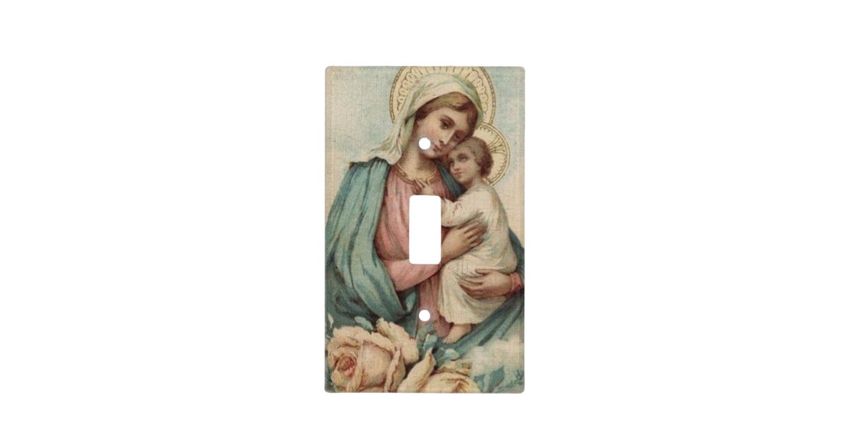 Vintage Blessed Virgin Mary With Baby Jesus Light Switch Cover