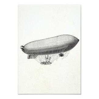 Vintage Blimp Old Zeppelin Retro Hot Air Balloon 3.5x5 Paper Invitation Card