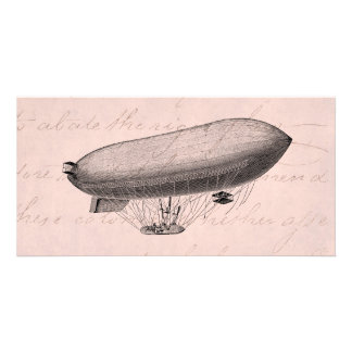 Vintage Blimp Old Zeppelin Retro Hot Air Balloon Card