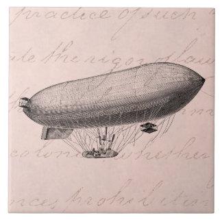 Vintage Blimp Old Zeppelin Retro Hot Air Balloon Ceramic Tile