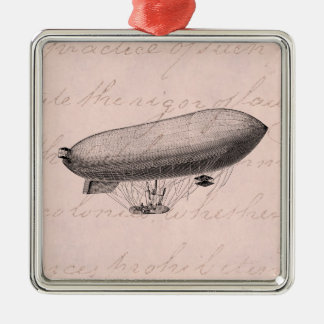 Vintage Blimp Old Zeppelin Retro Hot Air Balloon Metal Ornament