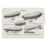 Vintage Blimps Zeppelins Retro Hot Air Balloons Greeting Card