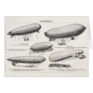 Vintage Blimps Zeppelins Retro Hot Air Balloons Card