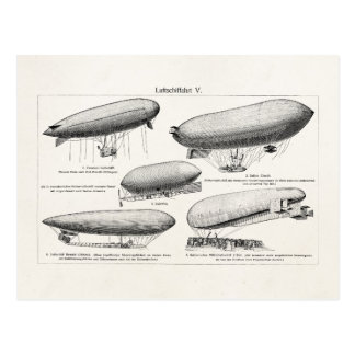 Vintage Blimps Zeppelins Retro Hot Air Balloons Postcard