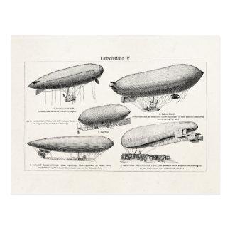 Vintage Blimps Zeppelins Retro Hot Air Balloons Postcard