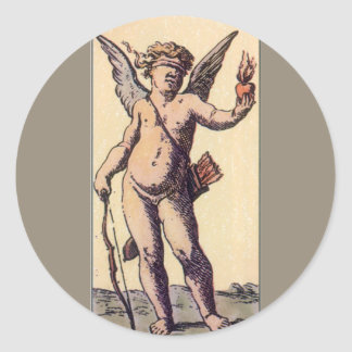 Vintage Blindfolded Cupid, Valentines Tarot Card Classic Round Sticker