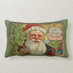 Vintage Blissful Christmas Santa Throw Pillow