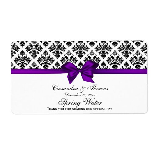 Vintage Blk Wht Damask Purple H WaterLabel Personalized Shipping Label