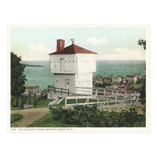 Vintage Block House Mackinac Island Michigan Postcard