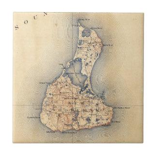 Vintage Block Island RI Map (1899) Ceramic Tile