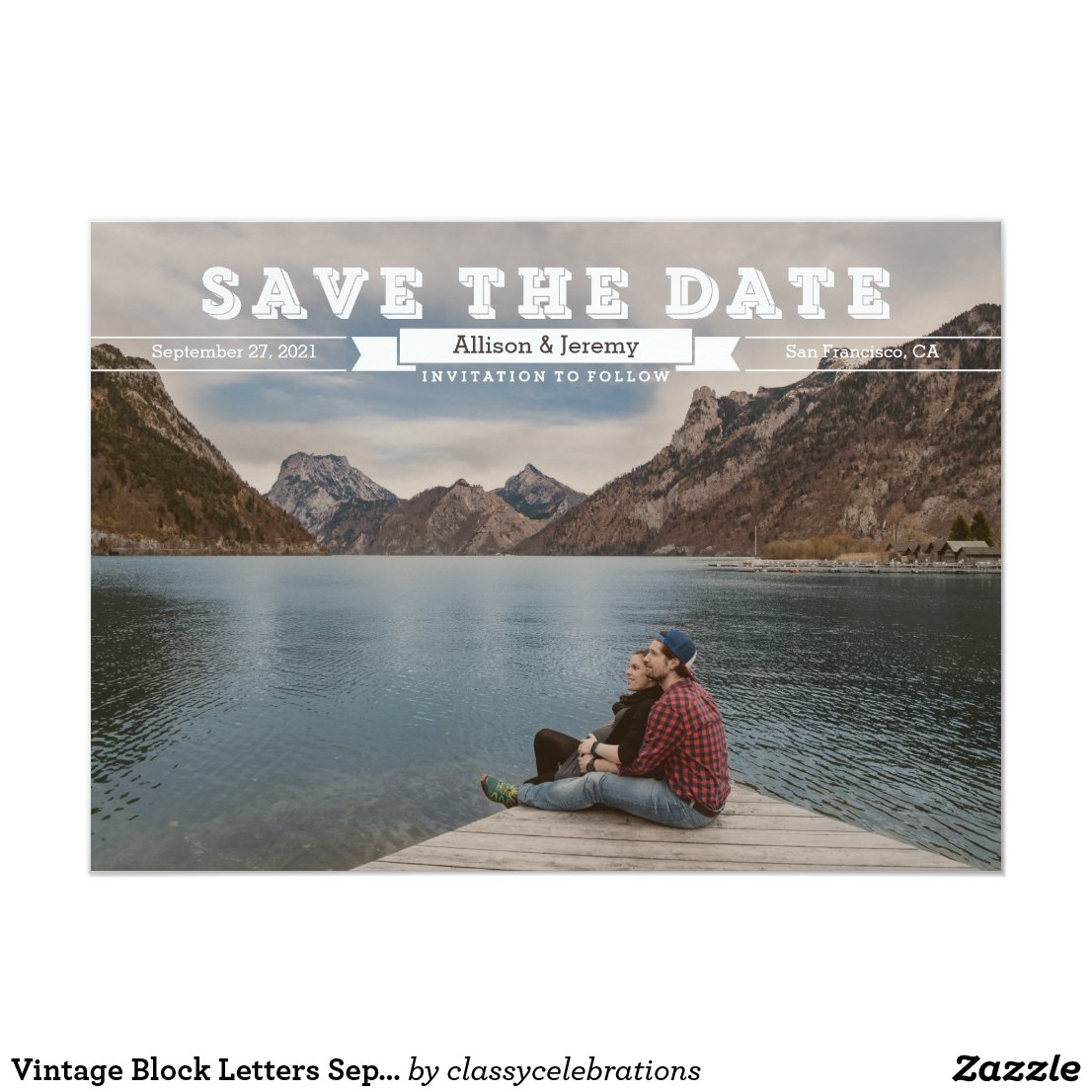 Vintage Block Letters Sepia Photo Save the Date