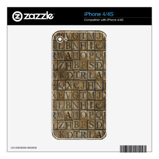 Vintage Block Style Letters Decals For iPhone 4