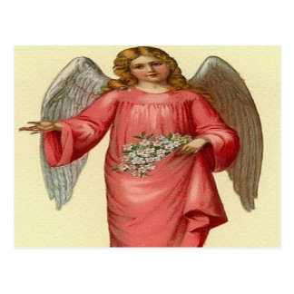 Vintage,Blond angel holding pink flowers Postcard