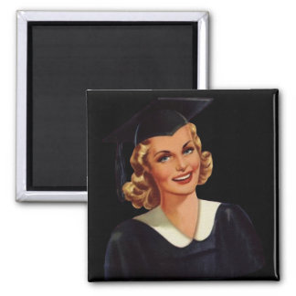 Vintage Blonde Educated Lady 2 Inch Square Magnet