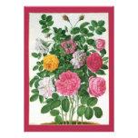 Vintage Blooming Flowers, Spring Garden Roses Custom Invitation