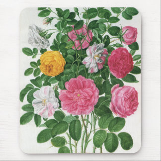Vintage Blooming Flowers, Spring Garden Roses Mouse Pad