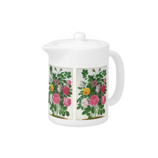 Vintage Blooming Flowers, Spring Garden Roses Teapot