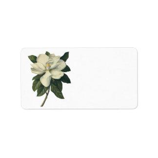Vintage Blooming White Magnolia Blossom Flowers Address Label