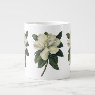 Vintage Blooming White Magnolia Blossom Flowers Large Coffee Mug