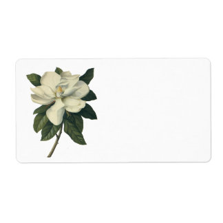 Vintage Blooming White Magnolia Blossom Flowers Shipping Label
