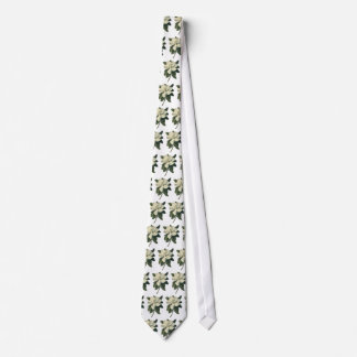 Vintage Blooming White Magnolia Blossom Flowers Tie